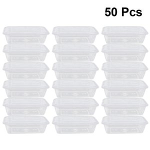 50pcs Transparent Fruit Carry Out Box Disposable Salad Meal Take Containers