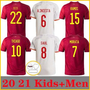 Jeux de joueur 2021 Espagne Accueil Jersey de football 20 21 Ferran Asensio Morata Isco Isco Iniesta Paco Alcacer Saul Xavi Raul Football Adulte Homme + Enfants Chemises