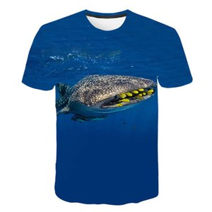 polo shirt New lovers T-shirt loose sea shark print Pullover men's and women's short sleeves