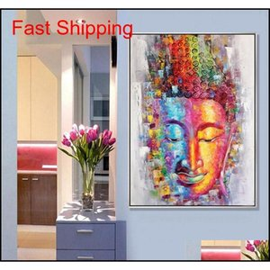 Buddha Picture Wall Art Home Decoration Hand Painted Modern Abstract Oil Painting On Canvas Gift U qylHDP sweet07