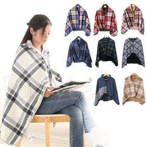 Blankets Wearable Blanket Soft Warm Cozy Fleece Shawls Flannel Throw Button Closure Grid Stripe Lattice Shawl Snuggle Throwing For Sofa