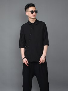 S-6XL 2021 Men's Clothing Hair Stylist British Handsome Fashion Seven-sleeve Shirt Plus Size Costumes Casual Shirts