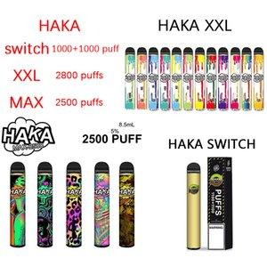 정통 하카 스위치 2in1 xxl 최대 일회용 포드 장치 전자 담배 2200 2500 2800 퍼프 vape 펜 대 GST IGetDisposable 키트