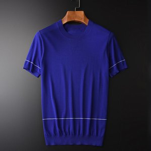 Minglu Summer Mens T-shirts Luxury Knitted Short Sleeve Man Plus Size 3XL 4XL Solid Color Round Collar Men's