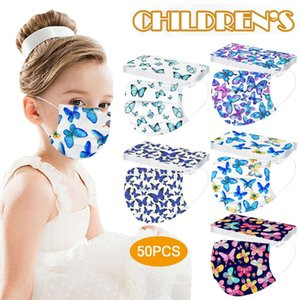 50pc Kids Face Masks Disposable Mouth Mask with Butterfly Dign Cute Printed for Children Girls Halloween Cosplay Ma