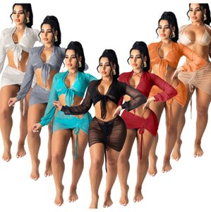 womens solid color beach sunscreen shirt fashion womens air conditioning shirt mesh Short skirt two piece sets D1352