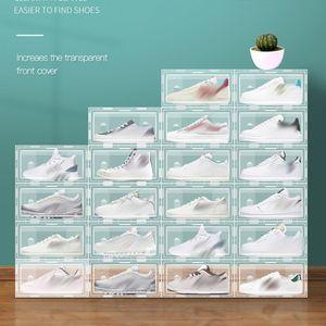 Kunststoff transparente Schuhständer Faltbare stapelbare Aufbewahrungsschubladen anzeigen Überlagerte Kombinationsschuhe Container Kabinettboxen