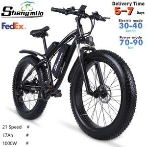 US SHENGMILO MX02S 1000W взрослый электрический горный велосипед 17AH 48V Li-Ion City Tire Tire Tire велосипед 40 км / ч E-Bike Beach Cruiser