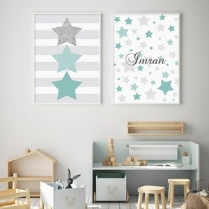 Paintings Cartoon Stars Green Baby Name Custom Posters Nursery Canvas Painting Wall Art Prints Pictures Kids Room Bedroom Decoration