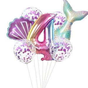 Mermaid Tail Golden Number Balloon Wedding Anniversary Birthday Party Decorate Aluminum Film Balloon Group 8 2gc J2