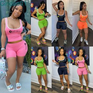 Women Tracksuits Two Pieces Set Ethika Designer Slim Sexy Vest Short Solid Colour Sleeveless Tops Ladies Outfits Sportwear