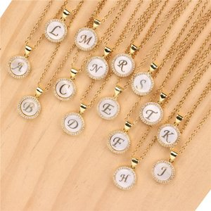 Chains A-Z Alphabet Initial Necklaces For Women Natural Shell Zirconia Letter Minimalist Choker Collars Jewelry