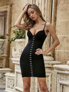 Vero Sinly 2021 Moda de verano Sexy V Cuello de espalda Body Bodycon Mujer Vendaje Vestido Elegante Partido Vestido Vestido Vestido Casual Vestidos