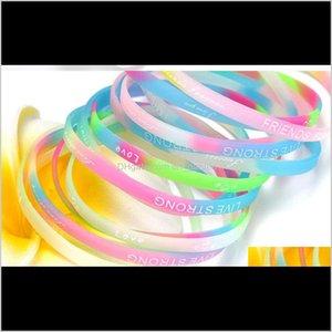 Fashion Luminous Jelly Sile Bracelet Sports Bracelet English Letters Wristband Bracelet Mixed Style Hand Rings Random Delivery 2C3Zb Cfott