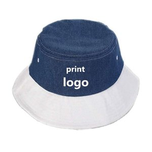 Custom LOGO Cotton Hat For Women Wide Brim Beach DIY Print Picture On Bucket Designer Denim Fabric Stitching Hats
