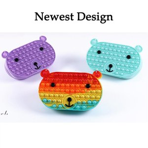 Fidget Bag Sensory Fidgets Toy Rainbow Cute Bear Silicone Bubble Crossbody Purse Toys for Girls Christmas Party Favors Autism RRD11267