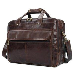 Luxury Black Mens Leather Handbags Soft Laptop Bag 14 14.6 15 15.6 Inch Shoulder Briefcase Notebook Handbag Briefcases