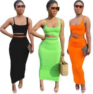 الصيف المرأة اثنين من قطعة اللباس النساء فساتين + أعلى قصيرة أكمام السباغيتي حزام مجموعة من الجوف خارج الترفيه المنزل نمط تنورة دعوى الملابس 9354