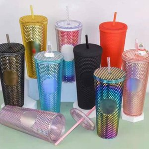DHL 24 oz Personalized Starbucks Iridescent Bling Rainbow Studded Cold Cup Tumbler coffee mug with straw