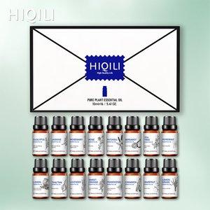 Nave from ES / FR Hiqili 10ml 16pcs Aceites Esenciales Conjunto Difusor Aroma Oil Lavender Rose Sandalwood Peppermint Orange Ylang Oil