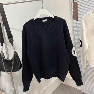 Мода женские толстовки осень зима вязаные свитер кофты с жемчужным украшением для женщин черный белый 2 цветов 98310