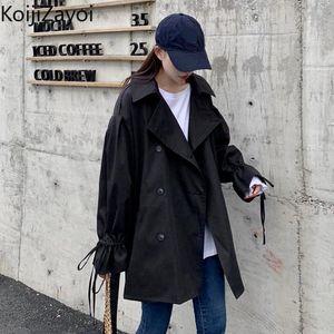 Women's Trench Coats Koijizayoi Drawstring Fashion Women Coat Spring Autumn Korean Office Lady Solid Casual Loose Chic Outwear Tops Dropship