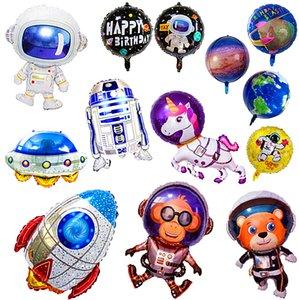 Astronaute SpaceShip Aluminium Foil Balloon Flying Saucertte Rocket Dessin animé Science Fiction Lilky Way Way Kids Anniversaire Theme Theme Partie Système solaire Décoration du système solaire