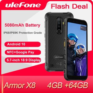 Ulefone Armor X8 Red Smartphone Android 10 4GB+64GB Cell Phone Global 4G LTE Mobile Phones NFC Waterproof IP68 Octa-Core