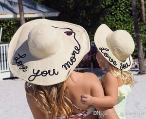Ins Bambini Sunblock Madre e figlia Sunhats Donne Estate Handmade Love You Paillette Fedora Sole Paglia Cappelli da sole Bambini Cappello Bambini Big Brim Floopy Cap A0767
