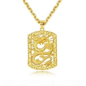 Rock Anhänger Halsketten 18K Gold Aushöhlen Drache Dominierende Raue Persönlichkeit Designer Schmuck Für Männer Hip Hop Cuban Link Kette Halskette