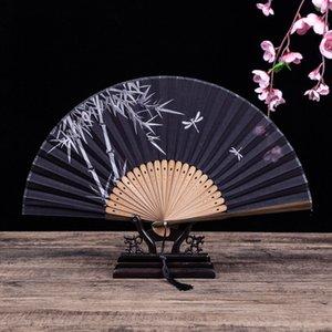 Titular do ventilador de mão Presente chinês Fan Dobrável Fan Requintado Chinês Prateleira Dobrável Bambus Eventil Um Principal Vintage Bambu Decoração Home 547 v2