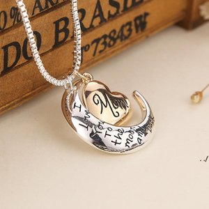 New Heart Jewelry I Love You To The Moon and Back Mom Pendant Necklace Giorno Giorno Giorno Regalo Gioielli moda AHA4325