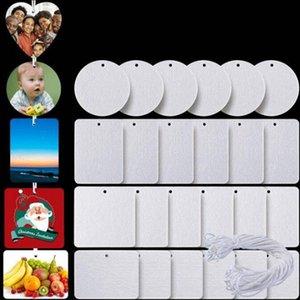 2021 Aroma Karten Sublimation Leerer Lufterfrischer 10 * 7 cm Filzmaterial Blatt Weiß Unscented Home Duftstoffe Auto Airs Erfrischen mit String