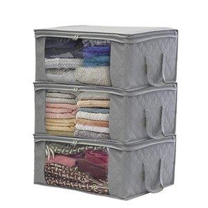 3 stücke Decke Aufbewahrungstasche OrganizerQuilt Schrank Pullover Organizer Box Reißverschluss Vlies Falten Organisieren Sie blaue beige graue Farben 49 * 36 * 21 cm