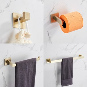 Strong Viscosity Adhesive Bathroom Accessory Set Without Drilling Brushed Gold Towel Bar Rack Robe Hook Tissue Toilet Paper Holder Rustproof 304 Stainless Steel