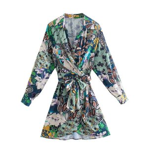 TRAF Za 2021 Patchwork Shirt Dress Woman Wrap Satin Dress Women Tie Belt Vintage Mini Dress Autumn Long Sleeve Short Dresses G1011