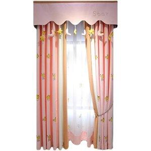 Занавес Drapes Custom Милая Принцесса Ветер Розовый Мультфильм Вышитые Детские Занавески Девушка Спальня Окна Окна