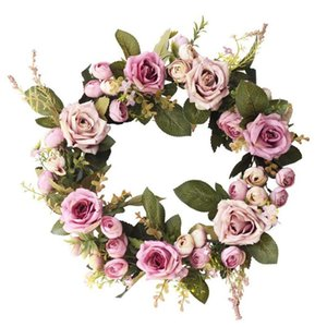 Artificial Rose Flower Wreath Spring Wreath for Front Door Wall Window Wedding Party Farmhouse Garden Home Decor