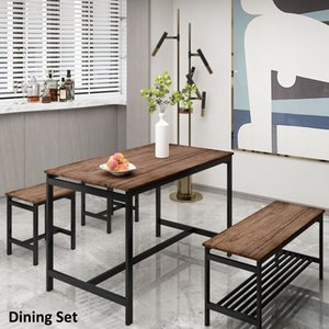 Dining Room Furniture 4 Piece table Set for Kitchen with 2 Stools and Bench