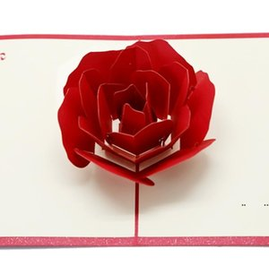 new 3D Rose Greeting Cards Valentines Day Greetings Card Creative Handmade Valentine Days Gifts for Women EWA6249