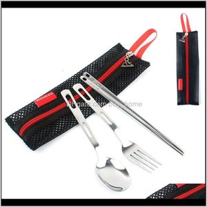 Camping Hiking Sports & Drop Delivery 2021 Stainless Steel Flatware Sets Forks Spoons And Chopstick Child Cutlery Suits Outdoors Camp Kitchen