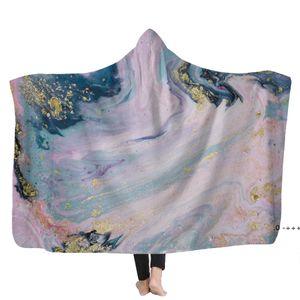 Psychedelic Art Marble Swirl blanket Gouache flowing gold Children Hooded Blanket Soft Warm Sherpa Fleece wearable Blankets for EWD11124