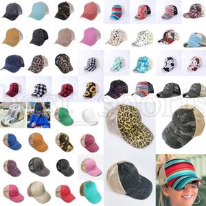 Criss çapraz at kuyruğu şapkaları 53 stilleri kadın yıkanmış örgü arka ayçiçeği ekose buffalo leopar dağınık topuz beyzbol şapkası açık kamyon şoförü şapka zza3135
