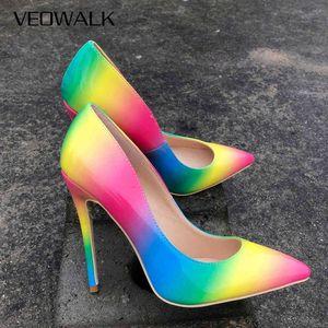 Veowalk arcobaleno colorato in vernice in pelle verniciata da donna sexy stiletto a spillo estremamente tacchi alti, scarpe da donna con pompe a punta di moda