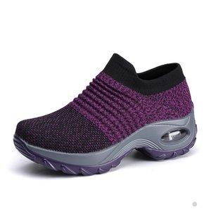 Zapatas de tenis para mujeres Malla transpirable en altura, creciente de altura, cal, calcetín, calzado, zapatillas, zapatillas de deporte, plataformas de fondo gruesas