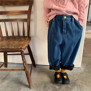 Jeans Winter Korean Style Unisex Solid Color Thick Warm 2-7 Years Boys And Girls Fashion Loose All-match Denim Pants