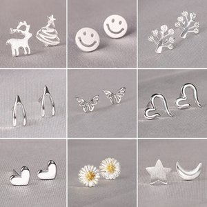 925 Silver Brushed Snowflake Crescent Moon Stud Earrings for Women Wedding Cute Feather Daisy Flower Earing Child Jewelry
