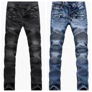 Erkekler Sıkıntılı Skinny Jeans Moda Erkek İnce Motosiklet Moto Biker Nedensel Denim Hip Hop Erkekler Pantolon Ripped