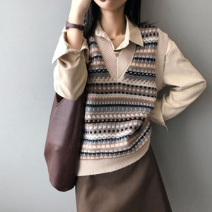 Knit Vest Sweater Women Cute Autumn Winter KALENMOS Long Slevee Pullovers Tops Loose Streetwear Harajuku Korean Sweaters Vests