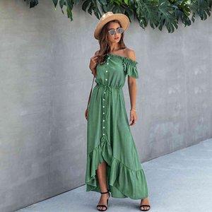 Casual Dresses Summer Dress Long Robe Elegant Off Shoulder Women Strapless Backless irregular Ruffle Sundresses Ladies Fitted Maxi